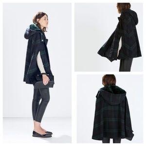 Zara Green and Navy Blue Tartan Plaid Coat, size